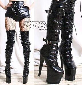 EXTREME-Fetish-8-Platform-High-Heel-3-Buckle-Strap-Mid-Thigh-60cm-Custom-Boot