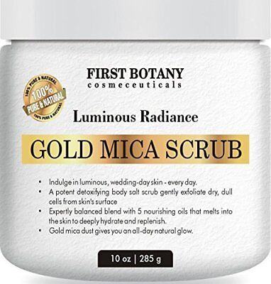 100% Natural Gold Mica Face and Body Scrub 10 oz with Nourishing Oils - Best (Best Natural Face Scrub)