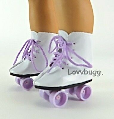 "Lavender Roller Skates for 18"" American Girl or Bitty Baby Doll Shoes"