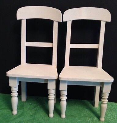 """2 Doll Chair primer Wood fit 14"""" or  bear or Doll"""