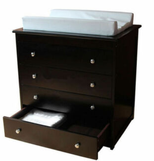 Baby Wooden Sleigh 4 DRAWERS Chest Change Table with Pad Walnut