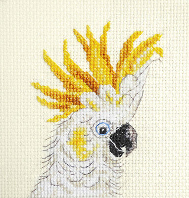 CRESTED COCKATOO, pet, bird ~ Full counted cross stitch kit + materials