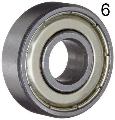 Six 6 608zz 8x22x7 Shielded Greased Miniature Ball Bearings