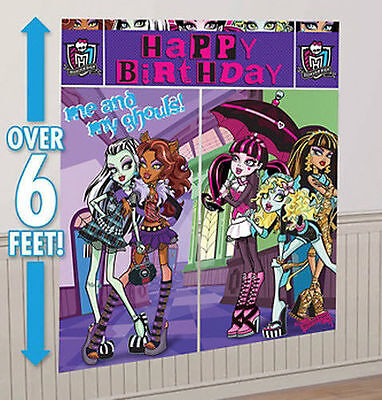 New Monster High WALL POSTER Decoration Kit Scene Setter Birthday Party Supplies - Monster High Partys