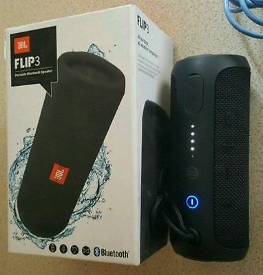 JBL Flip 3 Black Portable Wireless Stereo Speaker Bluetooth Splashproof NIB New!