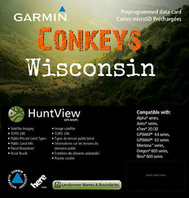 Garmin Wisconsin HuntView State Birdseye Maps / 24K TOPO Hunt view Garmin Topo 24k