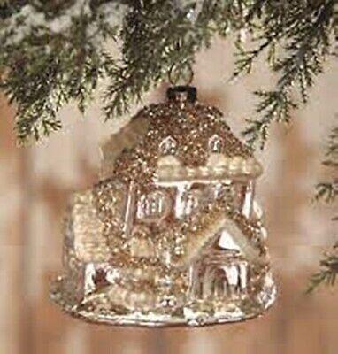 "Bethany Lowe Designs Christmas ""Elegant Mercury Glass House Ornament LC6433"
