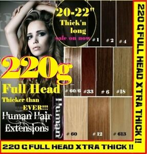 CLIP-IN-REMY-HUMAN-HAIR-EXTENSIONS-Brown-Blonde-Black-FULL-HEAD-EXTRA-THICK