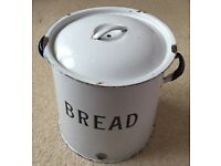 Enamel Bread Bin - white with blue handles 1930s - round