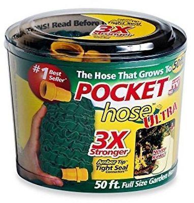50 ft Pocket Hose Ultra Expandable 3X Stronger Lightweight Garden Seen On TV New