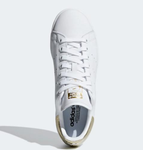 New Adidas Women's Stan Smith Shoes (EE8836)  White / White-Gold Metallic 1