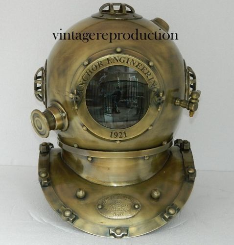 vintage antique 18Inch diving divers helmet deep sea anchor engineering 1921 Gif