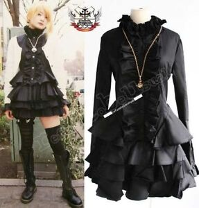 Nana-Babydoll-Gothic-Punk-Lolita-Mourn-Tux-Ruff-Collar-Little-Black-Dress-Tunic