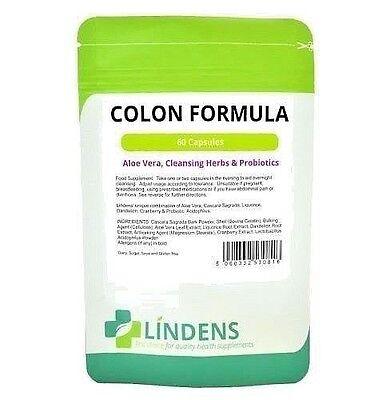 Colon Cleanse Formula Aloe Vera Herbs & Probiotics 60 Capsules Detox Lindens