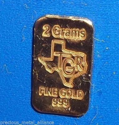 2 GRAM G 24K GOLD BAR TGR PREMIUM BULLION 999.9 FINE INGOT FREE PRIORITY SHIP !