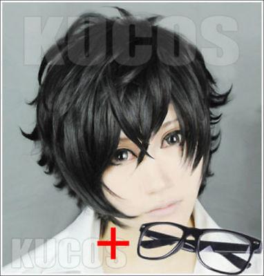 P5 Persona 5 Kurusu Akira Joker Cosplay Wig Black Anti-wrinkle Curly Hair New