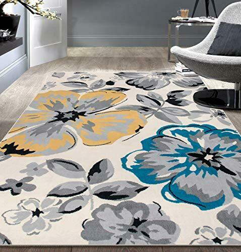 Modern Floral Circles Cream Area Rug Floor Carpet Mat Stain