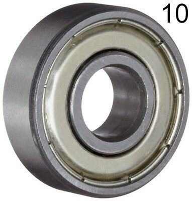 Ten (10) 608ZZ 8x22x7 Shielded Greased Miniature Ball Bearings Bearings
