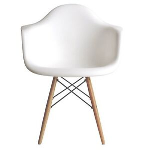 details about eames style daw molded white plastic armchair with wood