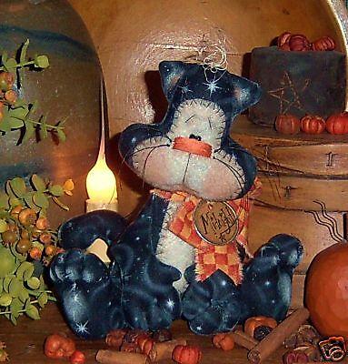 Primitive Halloween Kitty Cat Ornie Doll Paper Pattern #524
