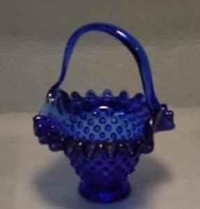 Cobalt-Blue-Glass-Hand-Made-Hobnail-Basket