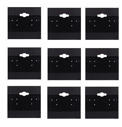 100 PCS Black Earring Display Hang Flocked Cards 2 X 2 Inch Jewelry Hanging Card