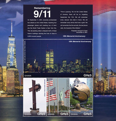 GHANA - 2016 - 15TH MEMORIAL ANNIVERSARY OF 9/11 SHEET OF 4 STAMPS MNH