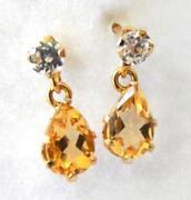 Yellow Gold Citrine Earrings