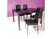Modern Large Glass and Black Metal Table & 4 Faux Leather Dining Chairs