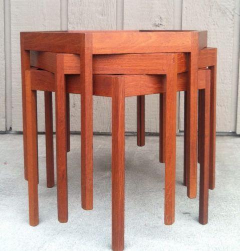Teak nesting tables ebay