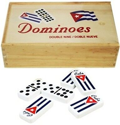 Double Nine Dominoes With Flag Cuban And Case Wood
