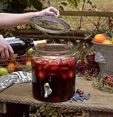 2 Gallon Sangria Party Glass Beverage Dispenser Natural Fresh Fruit Juice Wine