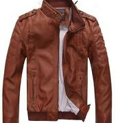 Mens Brown Leather Jacket XL