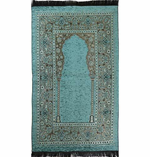 Modefa Islamic Prayer Mat Chenille Woven Turkish Janamaz Embroidered Floral Teal