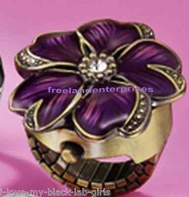 """Ring Spring Fling Ring Watch """"FLOWER"""" Purple Burnish Brass (One size fits most)"""