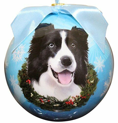 """""""Border Collie Christmas Ornament"""" Shatter Proof Ball Easy To Personalize"""
