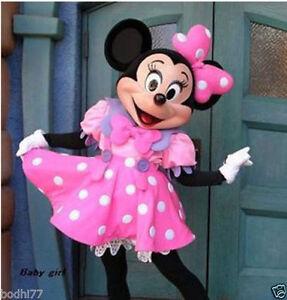 2015 HOT Crazy Sale Pink Minnie Mouse Mascot Costume Adult Sz Fancy Dress  @@@03