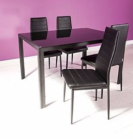 Glass Dining Table Set and 4 Black Faux Leather Chairs Seats
