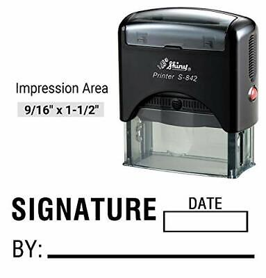 Signature Date Stamp - Shiny Custom Stamp Signature by with Date Text Self Inking Rubber Stamp Business