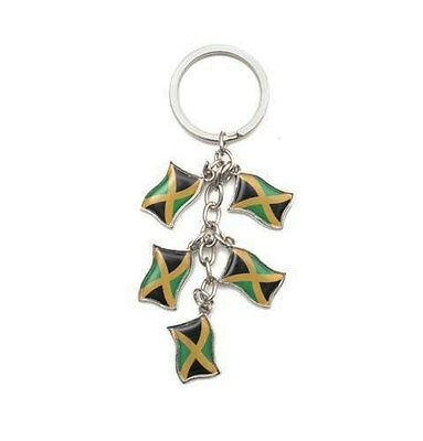 JAMAICA 5 COUNTRY FLAG  METAL KEYCHAIN .. NEW