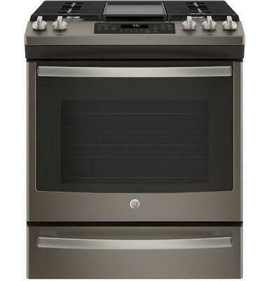 "GE JGS760EELES 30"" Slate Slide-In Front Control Convection Gas Range"