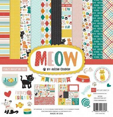 Echo Park MEOW 12x12 Scrapbook Kit Cat Kitten Pet Papers + Stickers  Cat Scrapbook Kit