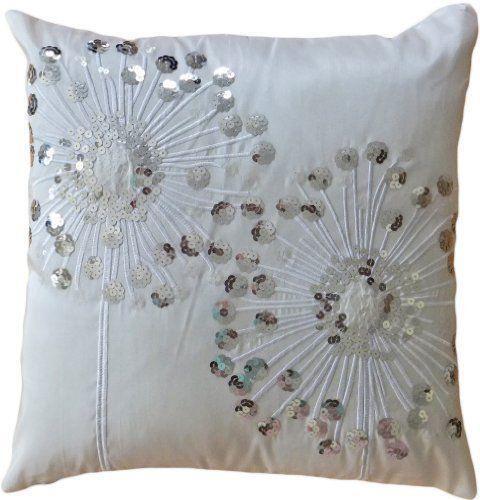 White Sequin Pillow Ebay