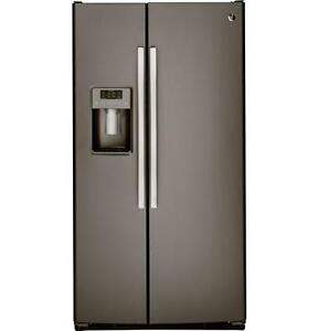 FRIDGE GE 26CU SLATE SXS OPEN BOX NEW