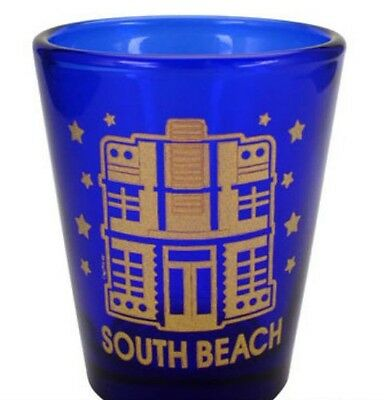 SOUTH BEACH FLORIDA COBALT BLUE SHOT GLASS SHOTGLASS