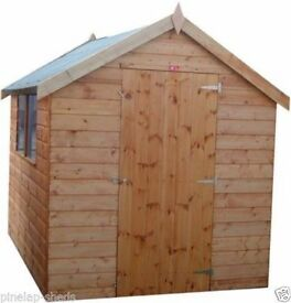 8FT X 6FT FULLY T&G APEX GARDEN SHED FACTORY SECONDS.