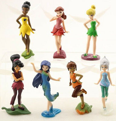 Tinkerbell Tinker Bell Girls PVC Action Figures Toys Dolls Set Cake Toppers 7pcs (Tinkerbell Cake Toppers)