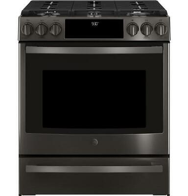 """GE Profile PGS930BELTS 30"""" Black Stainless Slide-In Front Control Gas Range"""