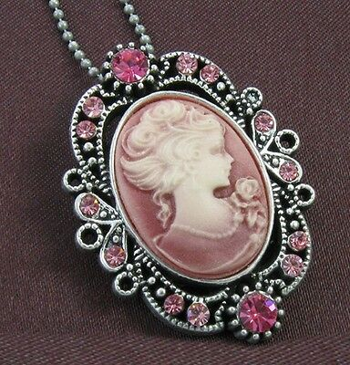 VTG Antique ST Pink Designer Cameo Necklace Pendant 1b 1 Cameo Pendant Necklace