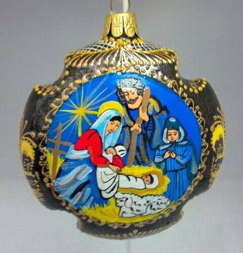 Nativity Cross Shaped Russian Hand Painted Ceramic Christmas Ornament